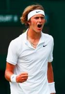 LONDON, ENGLAND - JULY 01:  Alexander Zverev of Germany celebrates a point in his Gentlemens Singles Second Round match against Denis Diyas of the United States during day three of the Wimbledon Lawn Tennis Championships at the All England Lawn Tennis and Croquet Club on July 1, 2015 in London, England.  (Photo by Julian Finney/Getty Images)