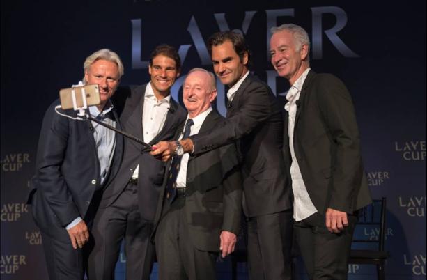 Rafael Nadal, Roger Federe, Rod Laver, Bjorn Borg, John McEnroe at the Laver Cup event today. (Photo via Laver Cup Facebook)